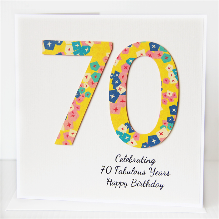70th PERSONALISED Birthday Card Geometric Flowers In Yellow Turquoise Pink Navy