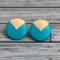 Hand painted geometric dip wooden earrings. Aqua