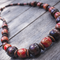 Stretchy,no clasp,Tribal Style Necklace with both Natural & Painted Wooden Beads