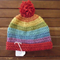 Rainbow coloured crochet beanie/hat Size 6-12 month old baby.