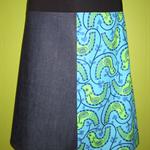 Denim Skirt with Green Birds & Bamboo Stretch Waist