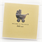 baby card yellow welcome to the world little one silver pram