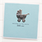 BABY card blue welcome to the world little one silver pram