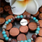Coffee Bean Jasper/Turquoise Riverstone Stretch Bracelet