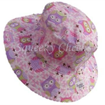 Toddler Hat ~ Pink Owls ~ Wide Brim ~ 46cm