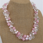 Pink Crackle White Clear Crochet Wire Beaded Handmade OOAK Necklace by Top Shelf