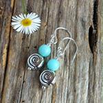 Aquamarine Brazilian Gemstone & Tibetan Bead Earrings