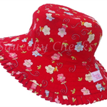 Toddler Hat ~ Red Frills ~ Wide Brim ~ 50cm
