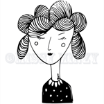 Lady Moshi Moshi, Monochrome, Modern Wall Art, Black and White, A4