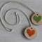 Set of 2 DIY sweet heart cross stitch necklaces on wooden pendant