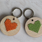 DIY embroidered heart BFF key rings on wooden pendants kit