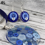 Blue Day Button Pendant & Earring - Silver Toned Findings on Stunning Blue Cord