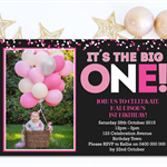 Girls Birthday Invitation- Pink Confetti - D01