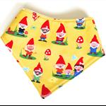 Gnome baby bandana bib yellow woodland unisex dribble babies bibs toadstool