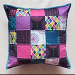 Patchwork cushion, printed on organic cotton sateen in my Blomma Kvinnlig range.