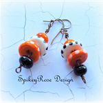 Orange and White Ceramic Disc Stack Earrings