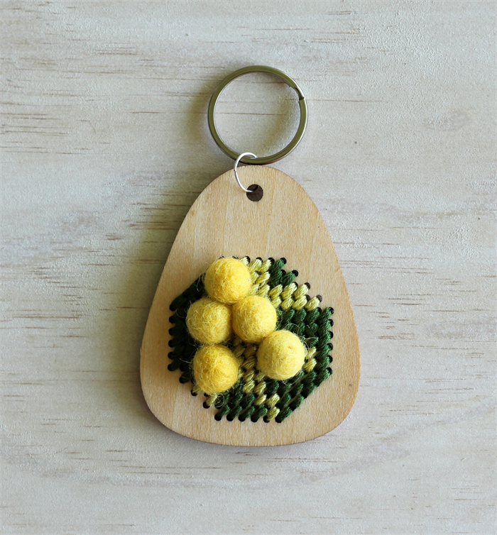 DIY embroidered wattle wooden keyring | Clementine and