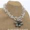 Frosted Flower Choker Crochet Wire Beaded Handmade OOAK Necklace by Top Shelf
