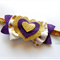 Original double heart bow -pink, gold & purple fabric headband - you choose size