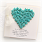 Personalised Wedding card keepsake gift boxed turquoise paper roses heart card