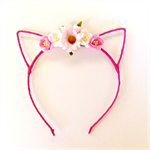 Kitty Ears Flower Crown Headband - Dark Pink, White, Bubblegum Pink