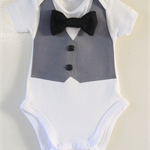 Formal Onesie with Grey Vest, Buttons and a Bowtie