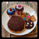 donut, cupcakes, biscuits felt play food