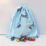 Super Cute Handmade Pale Blue Bunny Print Easter Toy Bag/Gift Bag/Storage Bag