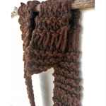 UNISEX - Super Chunky Brown Hand Knitted Woollen Scarf - handmade by musuDesigns