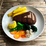 steak dinner felt play food