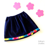 Girl's Navy Corduroy Skirt with Rainbow Ribbon Trim - Size 6