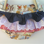 Ruffle bloomers - cowgirl, retro, denim, gingham, lace, nappy cover