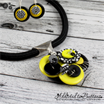 Bumble Bee Cluster Button Pendant & Earrings - Black White Yellow - Stripes