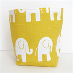 Yellow Elephant and Grey Chevron Fabric Basket - Medium FREE SHIPPING