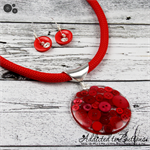Lady in Red Button Pendant Earring - Silver Toned Findings on Stunning red Cord