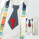 Baby Boy 1st Birthday Fabric Tie and Suspenders Onesie All Sizes Available
