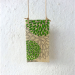 Green Rectangle Timber & Handmade Paper Neckpiece - handmade by musuDesigns