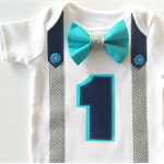 1st Birthday Onesie Boys Bow Tie and Suspenders Aqua Navy Grey