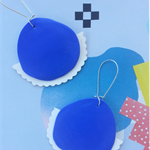 Electric Blue Polymer Clay and Vinyl Earrings - handmade by musu Designs