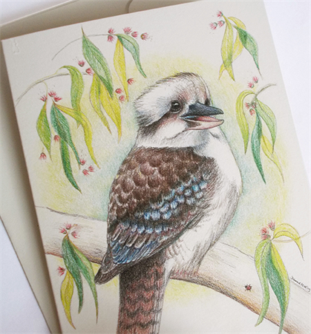 Kookaburra sings... greeting card, Australian Laughing Kookaburra, gum leaves