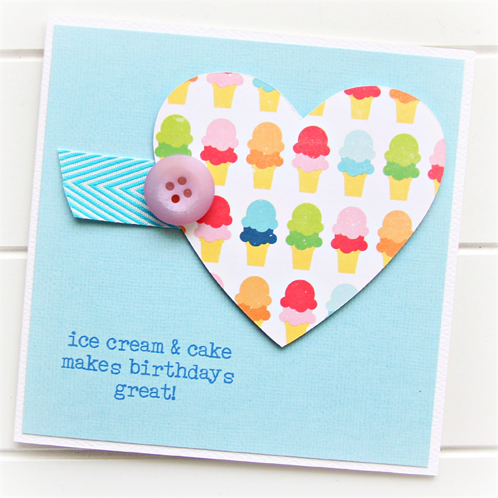 Happy Birthday Card Ice Cream Heart And Cake Make Birthdays Great