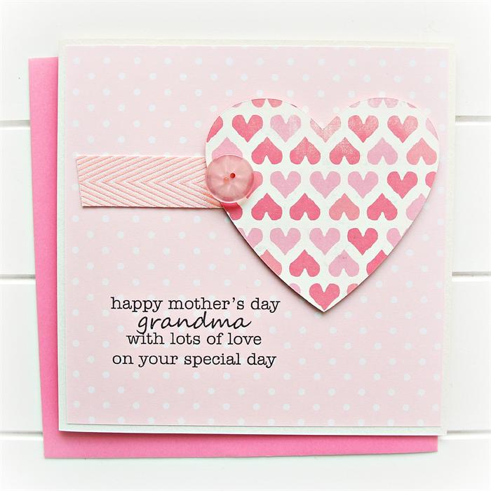 Grandma mother 39 s day card pink heart polka dots gran What to put in a mother s day card