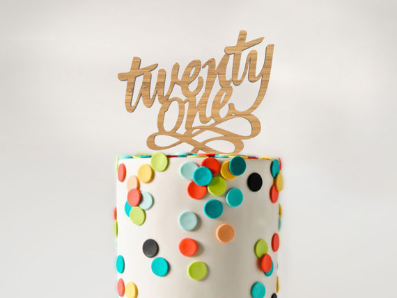 Laser Cut Bamboo Wood Twenty One 21st Birthday Cake Topper
