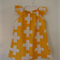 Girls White Crosses on Yellow Dress with  Flutter Sleeves Size 1