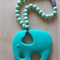 Silicone Elephant Teether in Turquoise