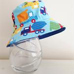 Boys summer hat in bright truck fabric