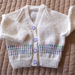 SIZE 6-12 mths  - Hand knitted cardigan in white & multi color by CuddleCorner