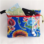 Medium Oilcloth Zip Travel Pouch, Nappy Pouch, Pencil Case, Blue Floral