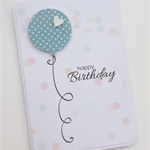 Handmade Card - personalised balloon birthday card blue