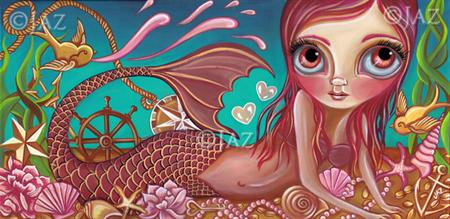 """""""Treasures of the Sea"""" Mermaid Art Print by Jaz Higgins - Girls Room Poster"""